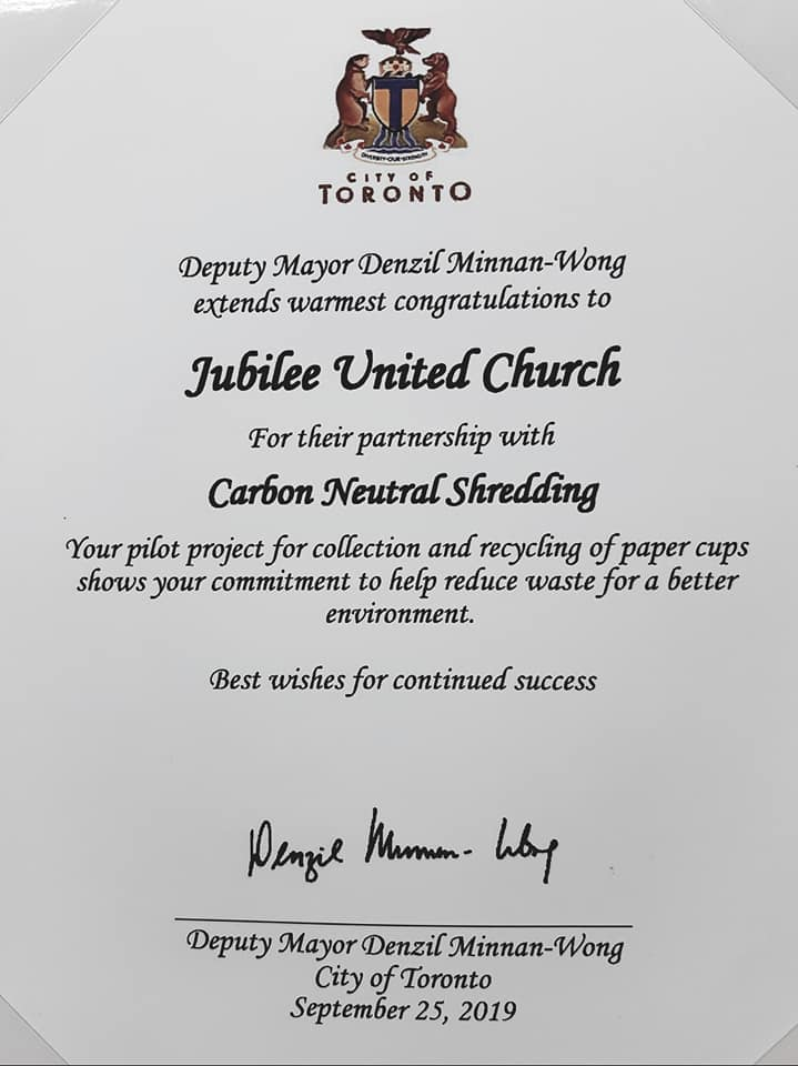 Jubilee United Church and Carbon Neutral Shredding received congratulatory letters from Federal, Provincial and Municipal governments for